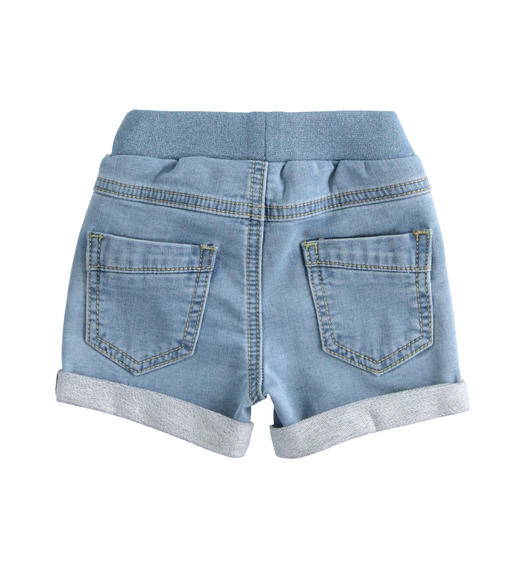 Newborn shorts of stretch cotton denim fleece for baby boy from 0 to 24 months Minibanda BLU CHIARO LAVATO-7310