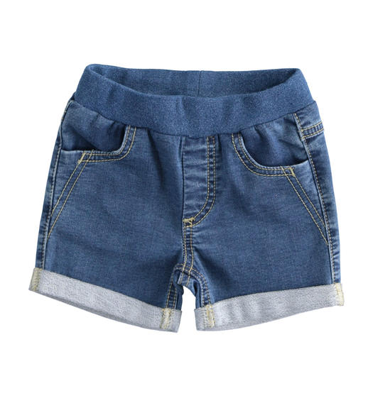 Newborn shorts of stretch cotton denim fleece for baby boy from 0 to 24 months Minibanda STONE WASHED-7450