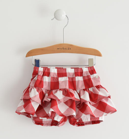 Baby girl shorts of soft 100% Vichy print cotton fabric for baby girl from 0 to 24 months Minibanda ROSSO-2256