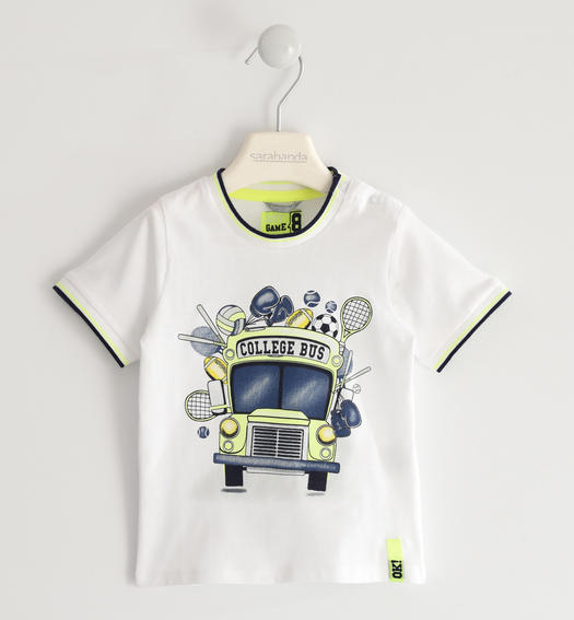 "Nice ""college bus"" t-shirt for boy from 6 months to 7 years old Sarabanda BIANCO-0113"