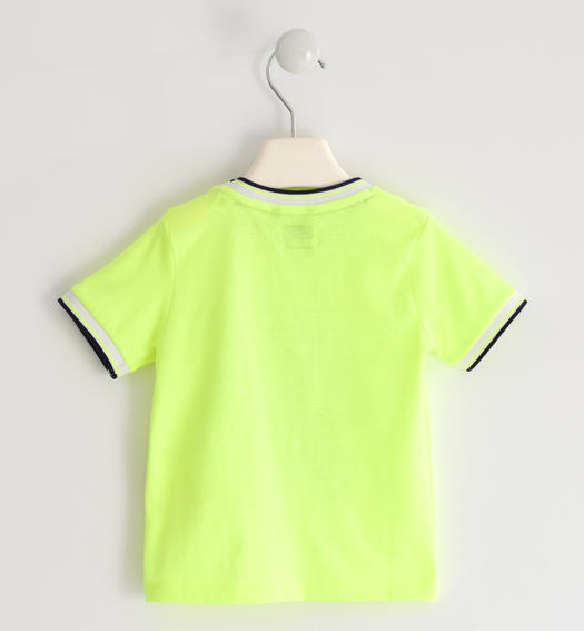 "Nice ""college bus"" t-shirt for boy from 6 months to 7 years old Sarabanda VERDE FLUO-5834"
