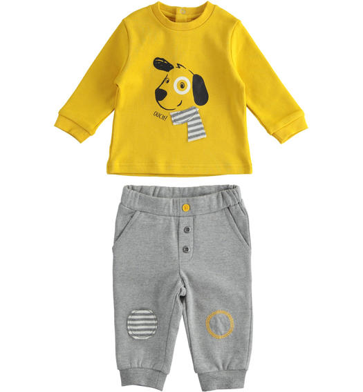 Cute two-piece outfit with little dog for newborn boy from 0 to 24 months Minibanda GRIGIO MELANGE-8993