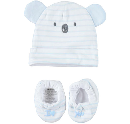 Very soft and comfortable baby boy kit with hat and slippers for newborn from 0 to 24 months Minibanda SKY-5818
