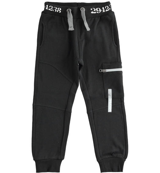 Sporty fleece trousers with side pocket for boy from 6 to 16 years Sarabanda NERO-0658