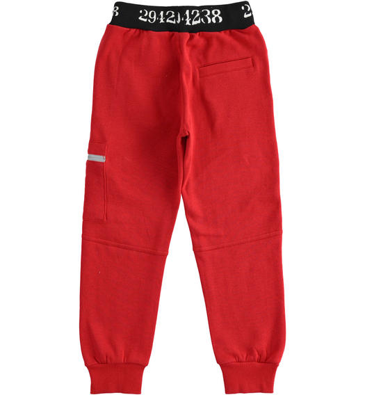 Sporty fleece trousers with side pocket for boy from 6 to 16 years Sarabanda ROSSO-2253