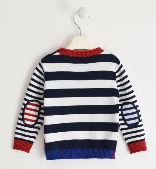 Closed tricot crew neck with intarsia for baby boy from 6 months to 7 years Sarabanda NAVY-3854