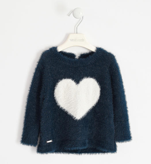 Tricot round neck with heart inlay for girl from 6 months to 7 years Sarabanda NAVY-3885