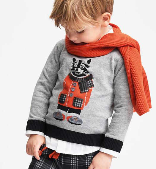 Crewneck tricot with inlay work and patch applications for baby boys from 6 months to 7 years Sarabanda GRIGIO MELANGE-8867