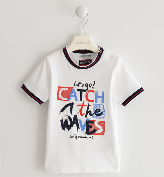 "Sarabanda 100% cotton ""Catch the waves"" t-shirt for boy from 6 months to 7 years BIANCO-0113"