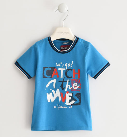 "Sarabanda 100% cotton ""Catch the waves"" t-shirt for boy from 6 months to 7 years TURCHESE-4027"