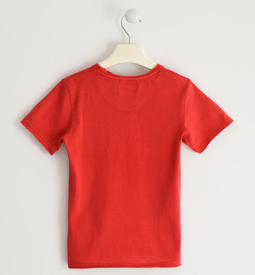 100% cotton T-shirt with city plates for boy from 6 to 16 years Sarabanda ROSSO-2259