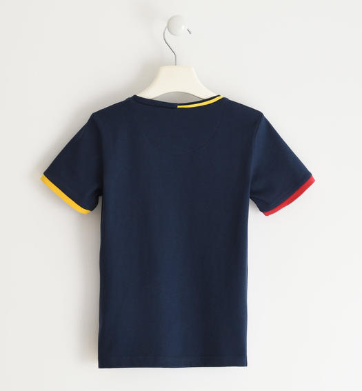 Sarabanda 100% cotton T-shirt with coloured pocket for boy from 6 to 16 years NAVY-3885