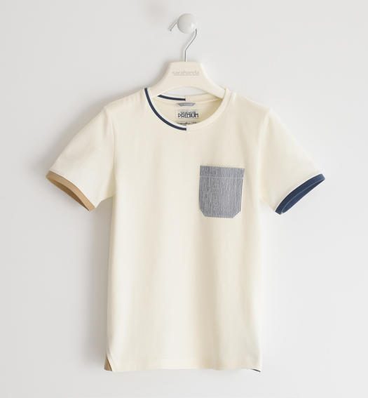 Sarabanda 100% cotton T-shirt with coloured pocket for boy from 6 to 16 years PANNA-0112