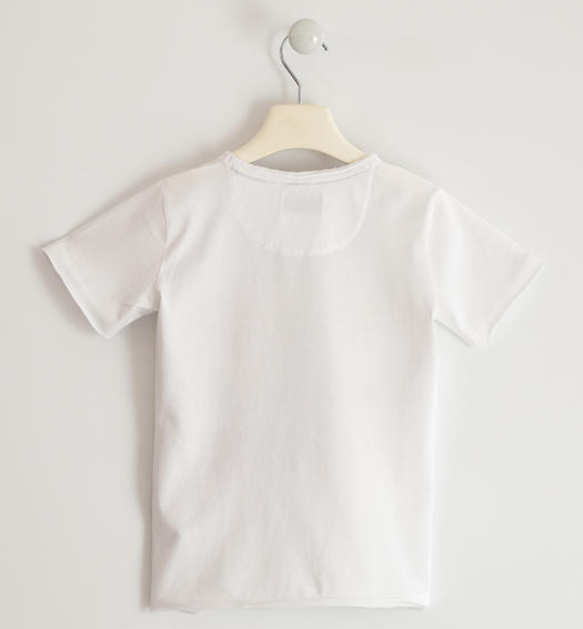 T-shirt subjected to washing to obtain a vintage effect for boy from 6 to 16 years Sarabanda BIANCO-0113