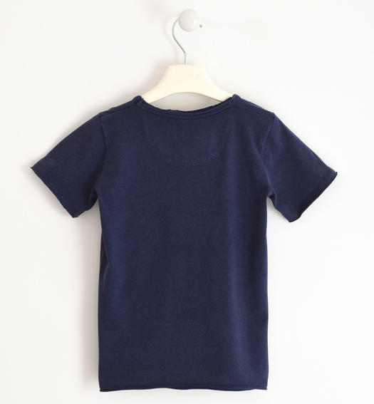 T-shirt subjected to washing to obtain a vintage effect for boy from 6 to 16 years Sarabanda NAVY-3854