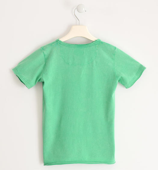 T-shirt subjected to washing to obtain a vintage effect for boy from 6 to 16 years Sarabanda VERDE-5034