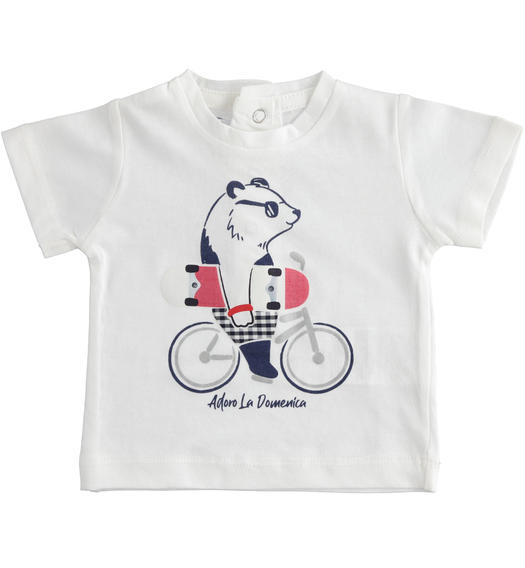 Short-sleeved 100% cotton baby boy s t-shirt with panda from 0 to 24 months Minibanda BIANCO-0113