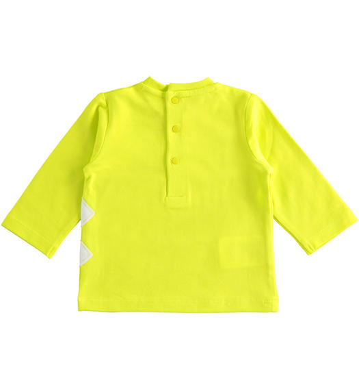 Long-sleeved baby boy T-shirt in lime colour for baby boy from 0 to 24 months Minibanda VERDE-5243
