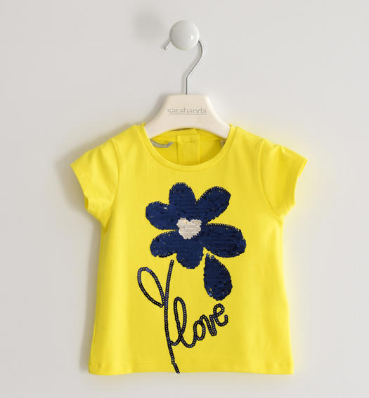 Sarabanda T-shirt with reversible sequin flower for girl from 6 months to 7 years GIALLO-1434