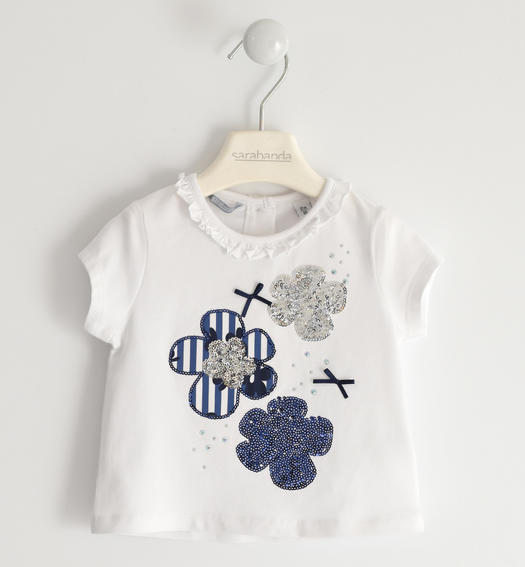 Sarabanda T-shirt with sequin flowers for girl from 6 months to 7 years BIANCO-0113