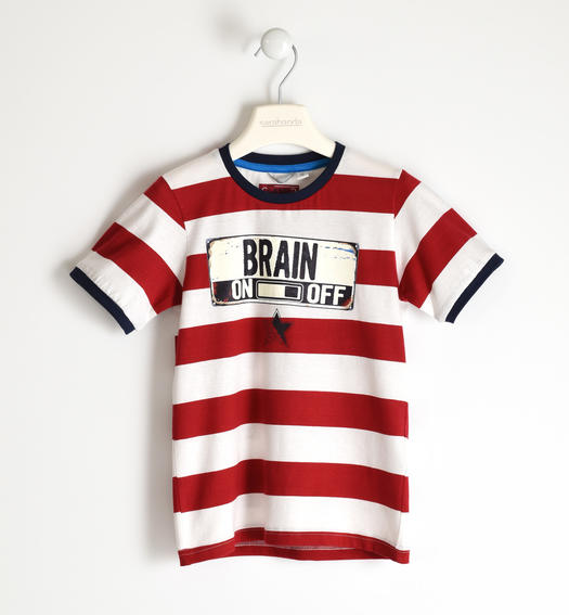 T-shirt with contrasting maxi stripe for boy from 6 to 16 years Sarabanda ROSSO-2259