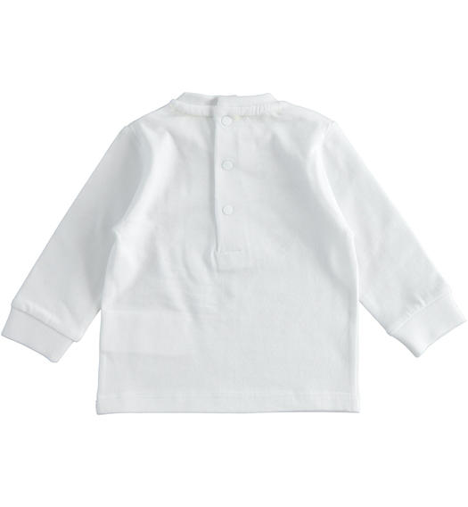 100% cotton crew neck t-shirt with cuffs on the sleeve bottom for baby boy from 0 to 24 months Minibanda BIANCO-0113