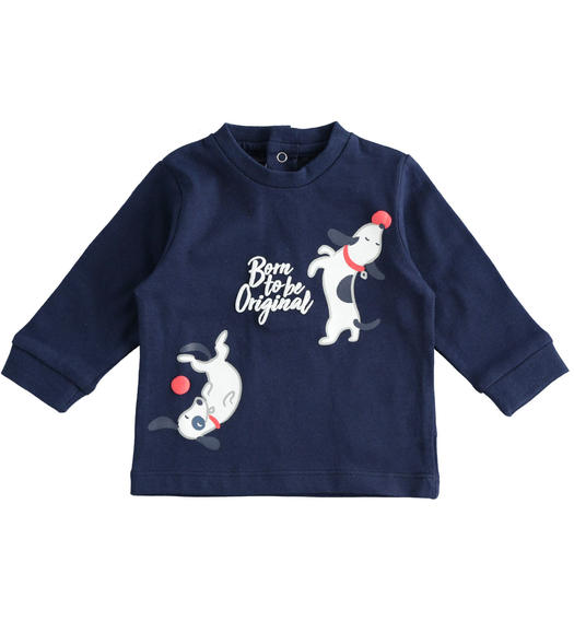 100% cotton long sleeves crewneck t-shirt for baby boy from 0 to 24 months Minibanda NAVY-3854