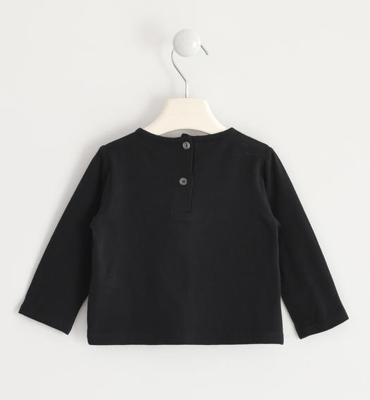Crew-neck t-shirt with tartan patch for baby girls from 6 months to 7 years Sarabanda NERO-0658