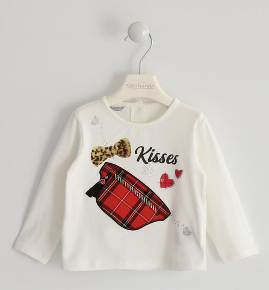 Crew-neck t-shirt with tartan patch for baby girls from 6 months to 7 years Sarabanda PANNA-0112