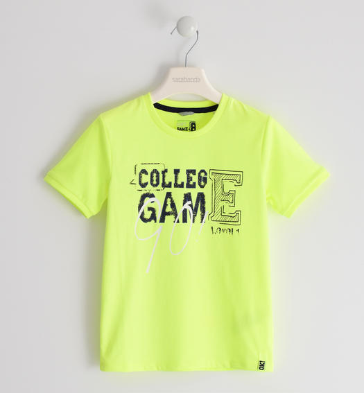 """College Game"" cotton t-shirt for boy from 6 months to 7 years old Sarabanda VERDE FLUO-5834"
