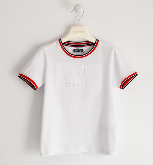 Sarabanda jersey t-shirt with embossed graphics for boy from 6 to 16 years BIANCO-0113