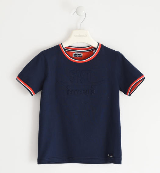 Sarabanda jersey t-shirt with embossed graphics for boy from 6 to 16 years NAVY-3854