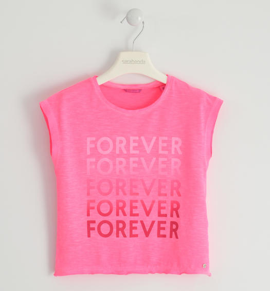 Fluo jersey T-shirt with ¿Forever¿ print for girl from 6 to 16 years Sarabanda PINK FLUO-5828