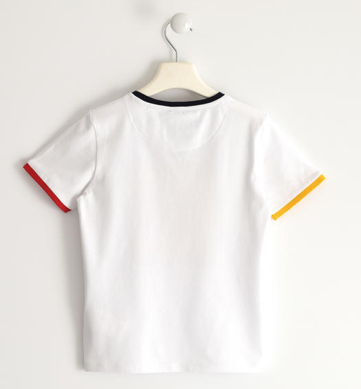 Sarabanda stretch jersey T-shirt with coloured rib for boy from 6 to 16 years BIANCO-0113