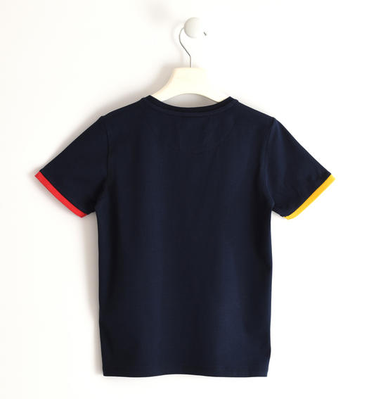 Sarabanda stretch jersey T-shirt with coloured rib for boy from 6 to 16 years NAVY-3885