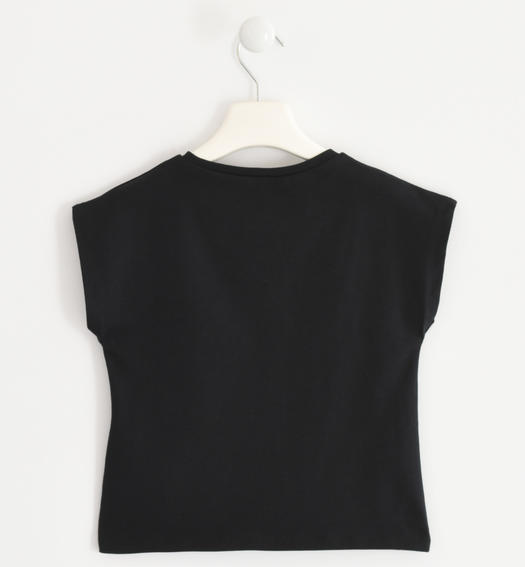 Stretch jersey T-shirt with heart of reversible sequins for girl from 6 to 16 years Sarabanda NERO-0658