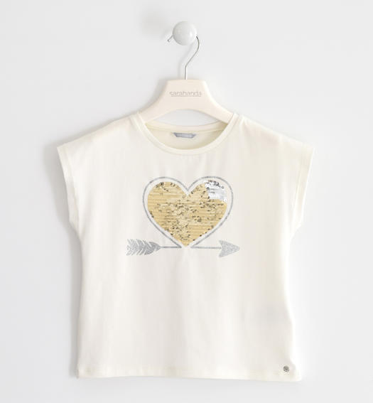 Stretch jersey T-shirt with heart of reversible sequins for girl from 6 to 16 years Sarabanda PANNA-0112