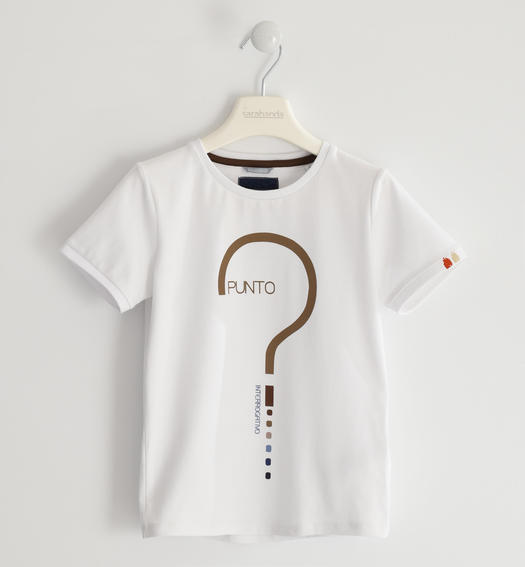 Stretch jersey T-shirt with question mark for boy from 6 to 16 years Sarabanda BIANCO-0113