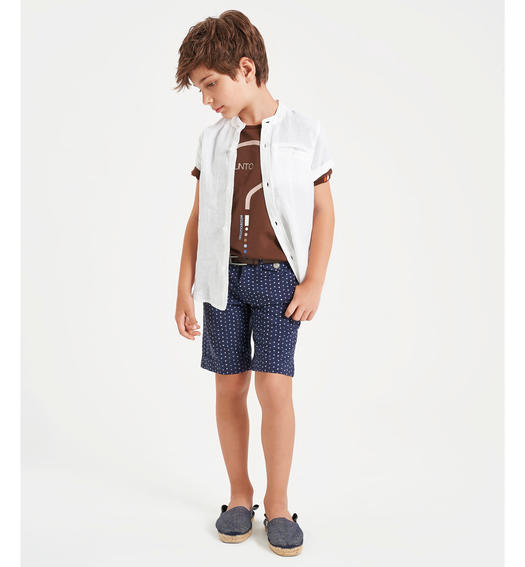 Stretch jersey T-shirt with question mark for boy from 6 to 16 years Sarabanda MARRONE-0853