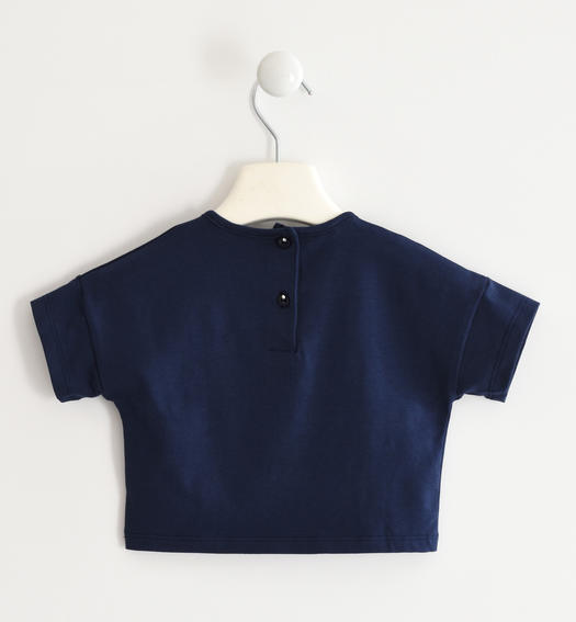 Sarabanda stretch jersey T-shirt with question mark for girl from 6 months to 7 years NAVY-3854