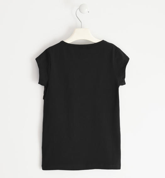 Stretch jersey T-shirt with tulle and sequins tape for girl from 6 to 16 years Sarabanda NERO-0658