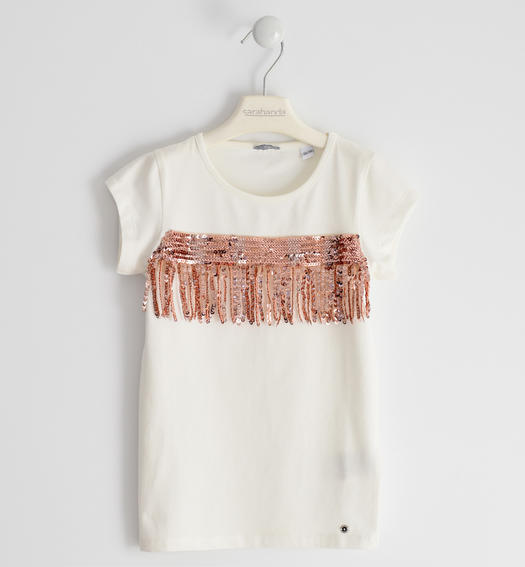 Stretch jersey T-shirt with tulle and sequins tape for girl from 6 to 16 years Sarabanda PANNA-0112