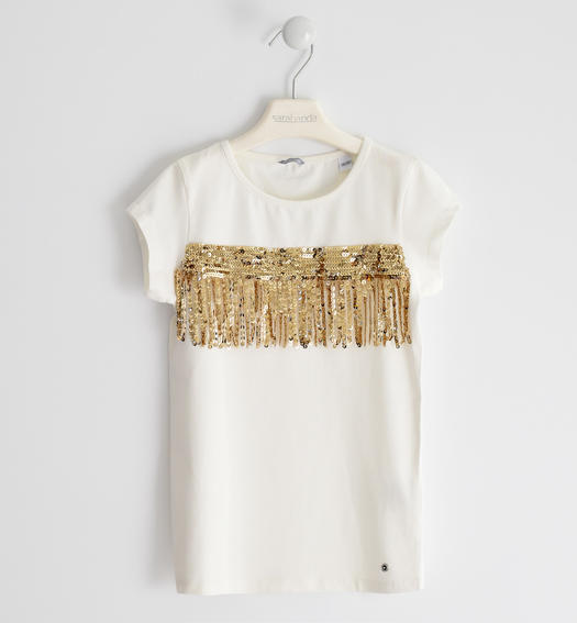 Stretch jersey T-shirt with tulle and sequins tape for girl from 6 to 16 years Sarabanda PANNA-ORO-8314