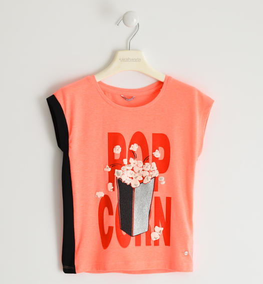 Sarabanda Pop Corn t-shirt for girl from 6 to 16 years CORALLO FLUO-5824