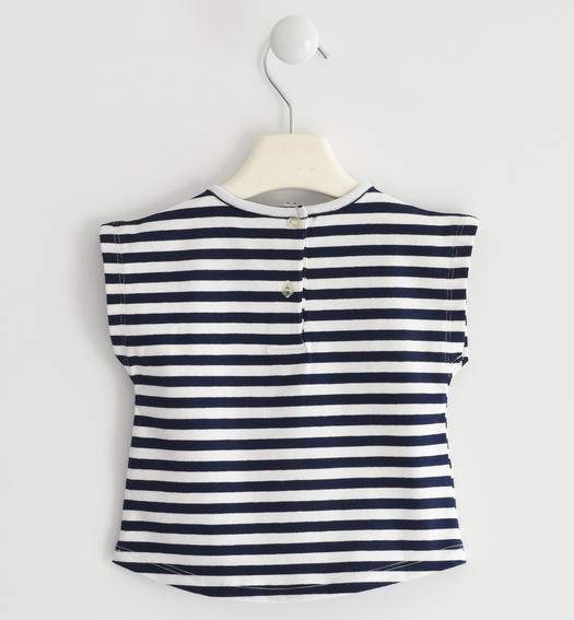 Sarabanda striped t-shirt with sequin hearts for girl from 6 months to 7 years NAVY-3854