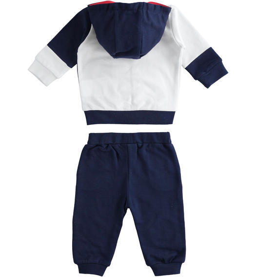 100% cotton baby tracksuit with full zip colour block sweatshirt for baby boy from 0 to 24 months Minibanda NAVY-3854