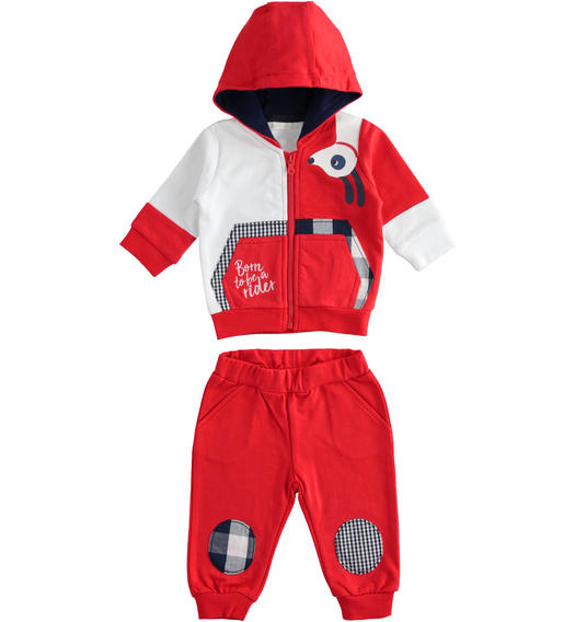100% cotton baby tracksuit with full zip colour block sweatshirt for baby boy from 0 to 24 months Minibanda ROSSO-2256