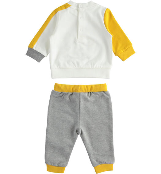 Jogging suit for newborn boy with little dog from 0 to 24 months Minibanda GRIGIO MELANGE-8993