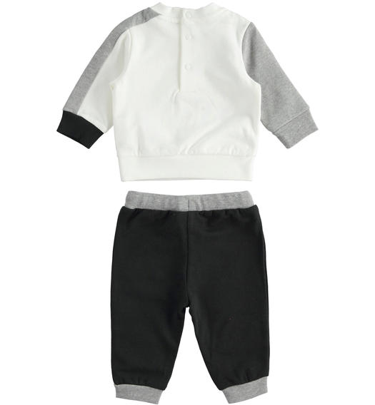 Jogging suit for newborn boy with little dog from 0 to 24 months Minibanda NERO-0658