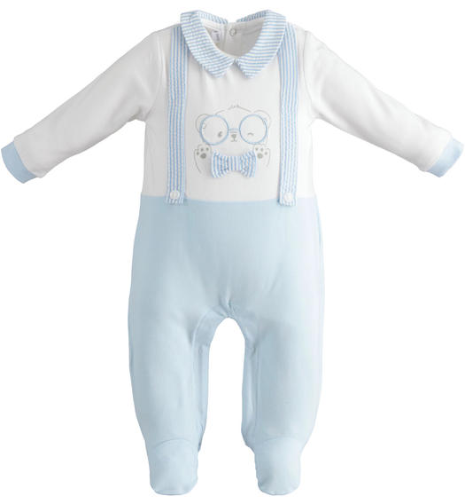 Cotton baby boy fake dungarees onesie with feet for baby boy from 0 to 24 months Minibanda SKY-5818
